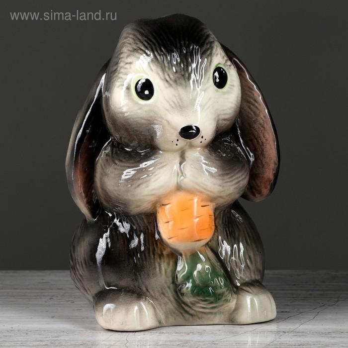 """Копилка """"Кролик с морковкой"""" глазурь, серая"""