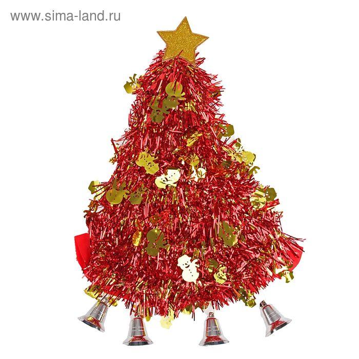 """Карнавальная шляпа """"Ёлочка"""" со снеговиками, колокольчиками"""