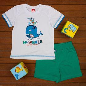 Комплект для мальчика (футболка, шорты), рост 80 см, цвет белый CSB 9644_М