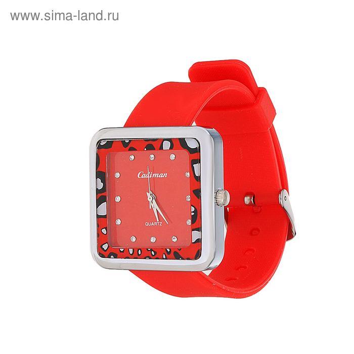 Часы наручные женские, квадратный циферблат со стразами, ремешок цвет МИКС