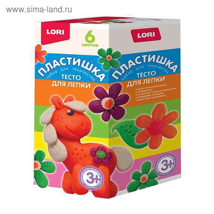 """Тесто для лепки """"Пластишка"""", 6 цветов по 70 г Lori"""