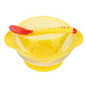 Набор для кормления, 3 предмета: миска 350 мл на присоске, крышка с рисунком, ложка, цвет жёлтый