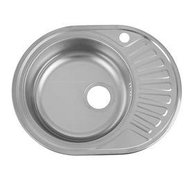 """Мойка кухонная """"Кромрус"""", врезная, без сифона, 45х57 см, левая, нержавеющая сталь 0.6 мм"""