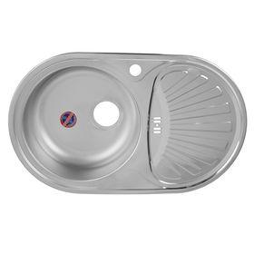 """Мойка кухонная """"Кромрус"""", врезная, без сифона, 44х74 см, левая, нержавеющая сталь 0.6 мм"""