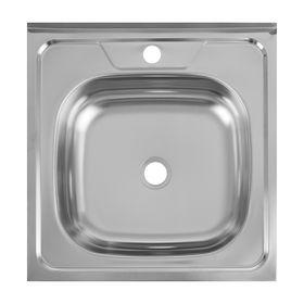 """Мойка кухонная """"Кромрус"""", накладная, без сифона, 50х50 см, нержавеющая сталь 0.4 мм"""