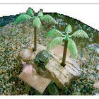 Островок для черепах на присосках, с 2-мя пальмами, малый