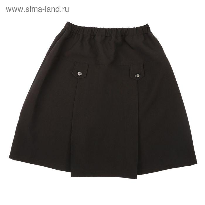 Юбка школьная для девочки, рост 122 см, цвет чёрный ШФ0001