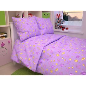 "Постельное бельё BABY """"Жирафы"", цвет фиолетовый 112х147 см, 110х150 см, 60х60 см, бязь 105 гр/м"