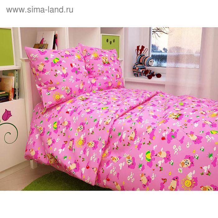 "Детское постельное бельё BABY ""Овечки"", цвет розовый 112х147 см, 110х150 см, 60х60 см, бязь 142 гр/м"