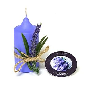 Свеча цилиндр ароматическая «АРОМА» с декором, лаванда, 8.5 х 4 см