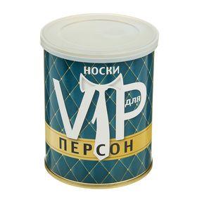 """Носки мужские в консервной банке """"Для VIP персон"""", 1 пара, чёрные, р. 41-43"""
