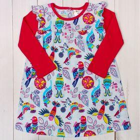 Платье для девочки, рост 74 см, принт птицы AZ-842_М