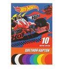 Картон цветной А5, 10 листов, 10 цветов Mattel Hot Wheels, мелованный, картонная папка с клапаном