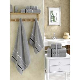 Комплект полотенец BALE, размер 50х80-2 шт., 70х140-2 шт., махра 400 г/м2, цвет серый