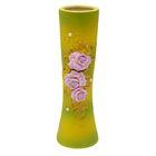 """Ваза """"Марика-Росса"""" большая, роза с бусиной, жёлто-зелёная"""