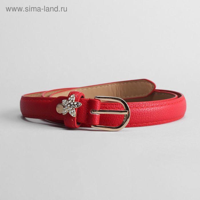 Ремень женский, ширина 2 см, винт, пряжка золото, цвет красный