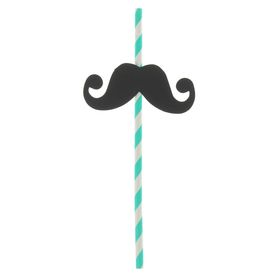 """Трубочки для коктейля """"Усы с завитком"""" (набор 4 шт) цвета МИКС"""