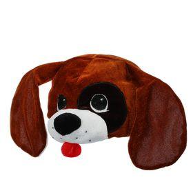 """Карнавальная шапка """"Собака с черным пятном""""обхват головы 52-57см"""