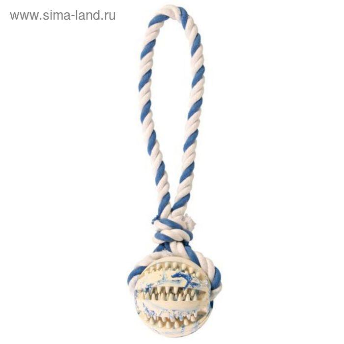 Мяч на веревке Trixie DENTAfun Ф 7 см / 24 см, резина / х/б