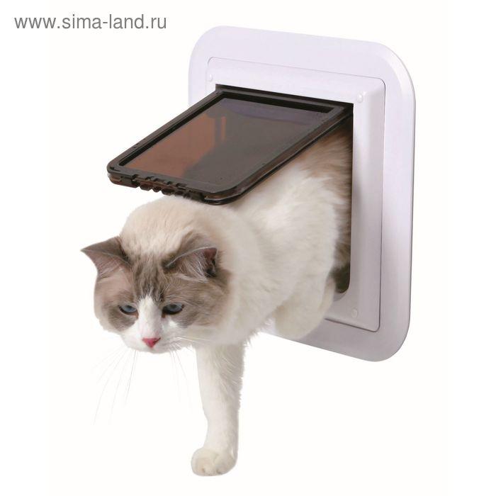 Дверца Trixie для кошки для стеклянной двери, 17.4 х 18.5 см, белая