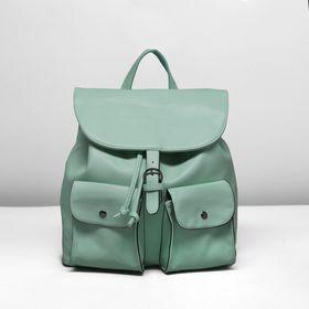 Рюкзак молодёжный на шнурке, 1 отдел, 2 наружных кармана, цвет зелёный