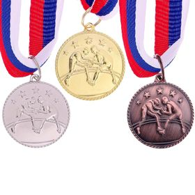 Медаль тематическая 120 'Вольная борьба' золото Ош