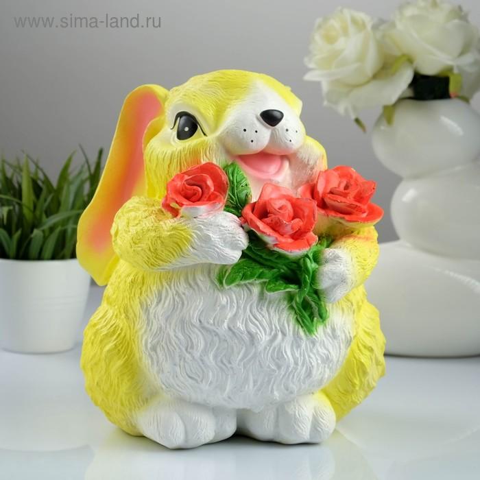 """Копилка """"Заяц с цветком"""" большая, жёлтая"""