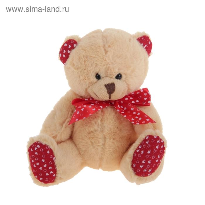 """Мягкая игрушка """"Мишка"""" ушки бантик лапки в сердечко цвет светло-коричневый"""