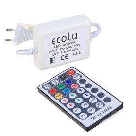Контроллер RGB Ecola для ленты 14х7, 220 В, 600 Вт, 2.7 А, IP68, радиопульт