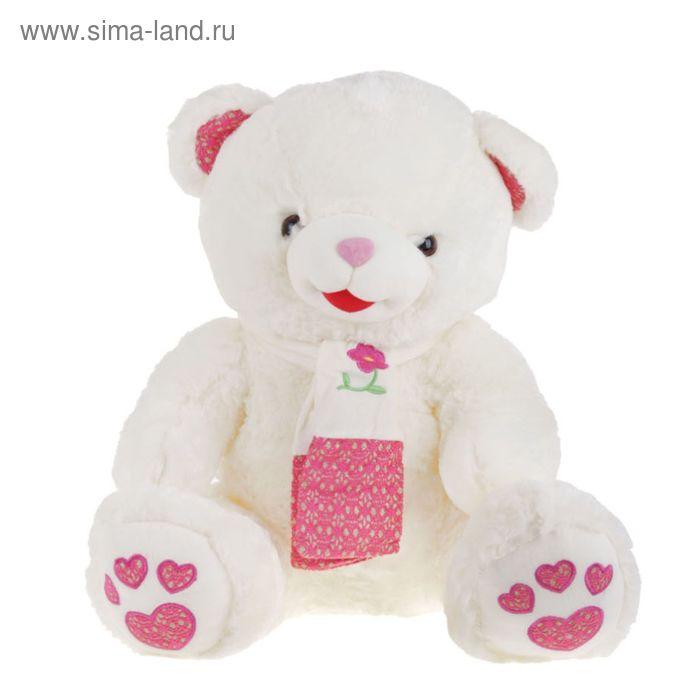 """Мягкая игрушка """"Мишка"""", на шарфе цветок на лапах сердечки, МИКС"""