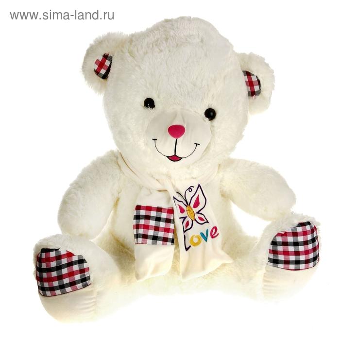"""Мягкая игрушка """"Медведь"""" на шарфе бабочка. лапы в клетку"""