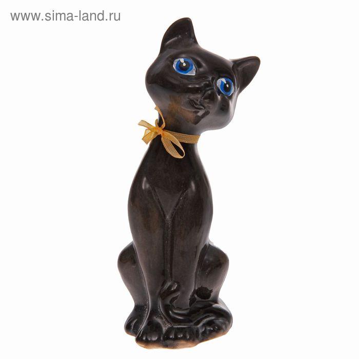 """Копилка """"Котёнок с бантиком"""" глянец, чёрная"""