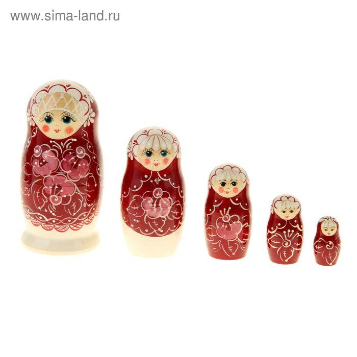 """Матрешка """"Жемчужина"""" бордовая, 5 кукол, художественная роспись"""