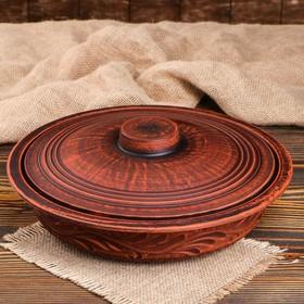Сковородка, д-28 см, красная глина