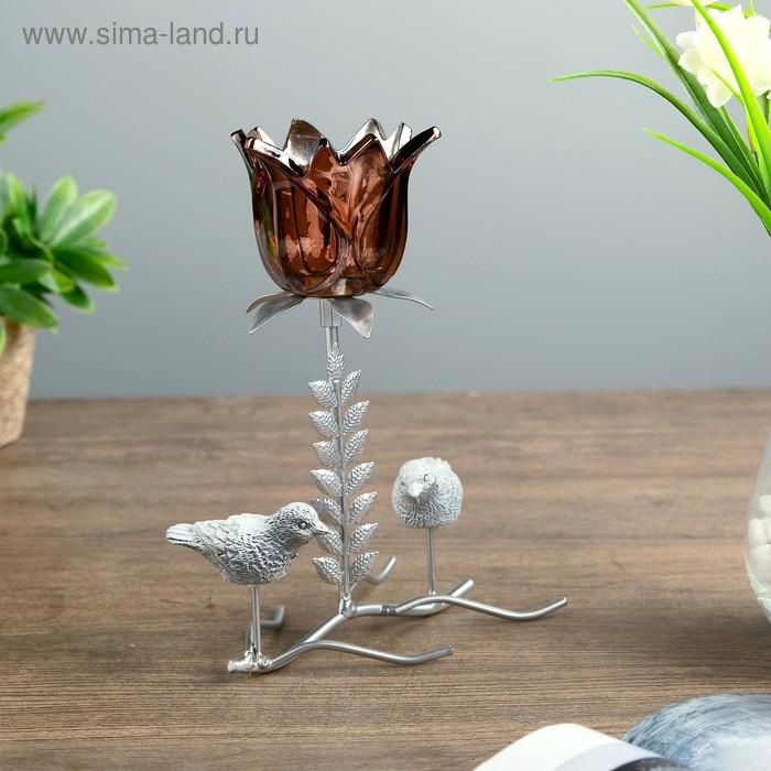 """Подсвечник металл 1 свеча """"Две птички у цветка"""" 21х17,5х9 см"""