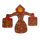 Набор кухонный «Русская красавица»: 3 доски разделочные, держатель, хохлома