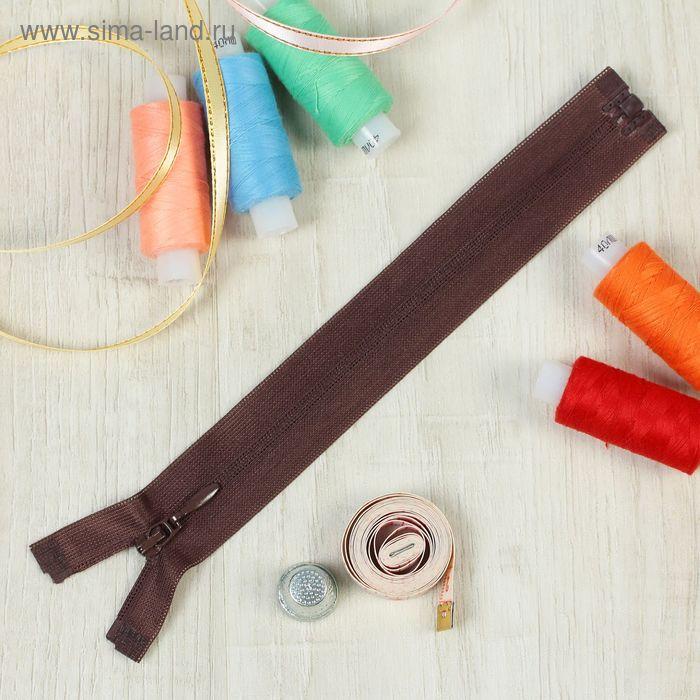 """Молния """"Спираль"""", №3, разъёмная, G103L, 20см, цвет шоколадный"""