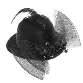 """Карнавальный зажим шляпка """"Загадка"""", цвет черный"""