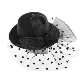 """Карнавальный зажим шляпка """"Очарование"""", цвет черный"""