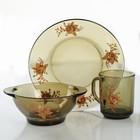 """Набор для завтрака """"Золотая роза"""", 3 предмета: тарелка d=20,5 см, миска 510 мл, кружка 210 мл, цвет дымка"""