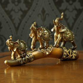 """Сувенир полистоун """"3 слона с буддой на попоне"""" 17х31х4,3 см"""