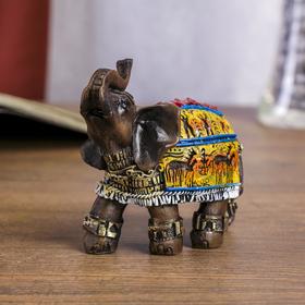 """Сувенир полистоун """"Слон с наскальными рисунками"""" 9х4,5х8 см"""
