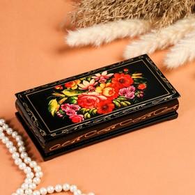 Шкатулка - купюрница «Полевые цветы», 8,5х17 см, лаковая миниатюра