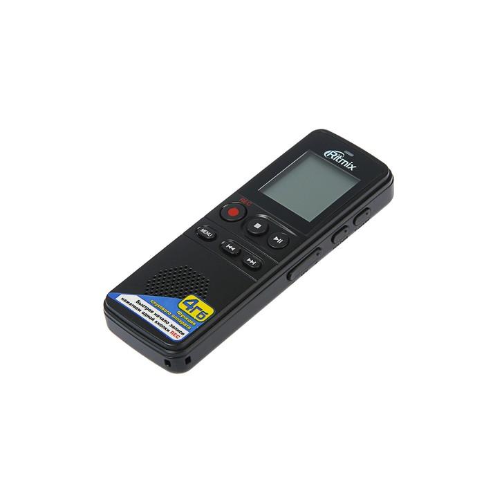 Диктофон RITMIX RR-810 4Gb Black, MP3, микрофон, дисплей, чехол, ремешок