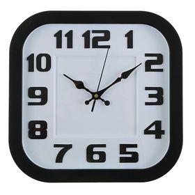 "Часы настенные ""Элегант"", черная рама, белый циферблат, закругленные углы, d=29см"