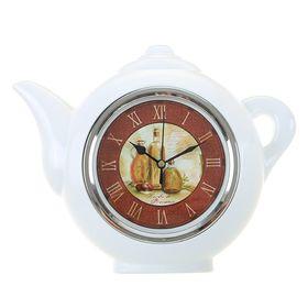 Часы настенные Чайник, белый, римские цифры, 30*23см.