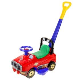 Автомобиль Джип-каталка с ручкой (красный) с гудком-пищалкой