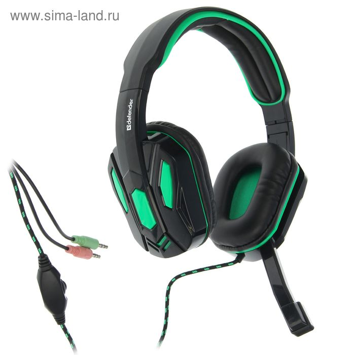 Гарнитура игровая DEFENDER Warhead G-275, кабель 1.8 м, зелёная