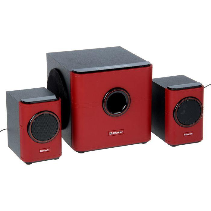 Акустическая система 2.1 DEFENDER G10, 2х7.5Вт+15Вт, 220В, черные/красные