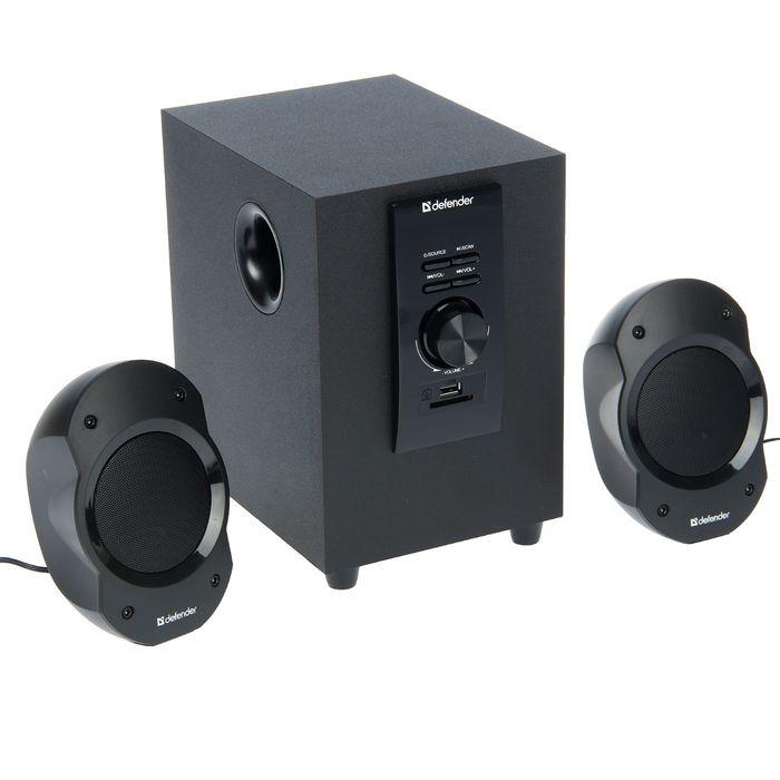 Акустическая система 2.1 DEFENDER Sirocco S10 Pro, 2х2.5Вт+5Вт, MP3,FM,пульт ДУ,220В,черные